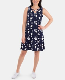 NY Collection Lattice-Neck Star-Print Dress