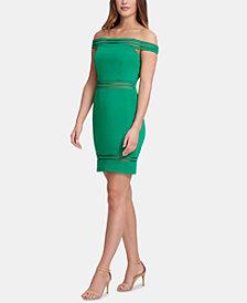 GUESS Off-The-Shoulder Shadow-Stripe Sheath Dress