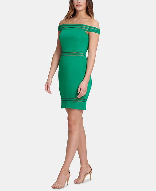 GUESS Off-The-Shoulder Shadow-Stripe Sheath Dress