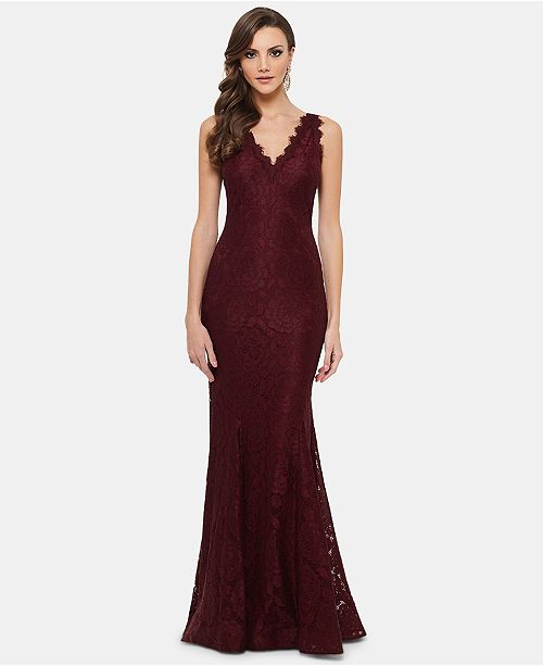 bb42b951f9f Betsy   Adam Lace V-Neck Mermaid Gown   Reviews - Dresses - Women ...