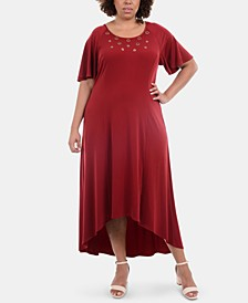 Plus Size Embellished High-Low Maxi Dress