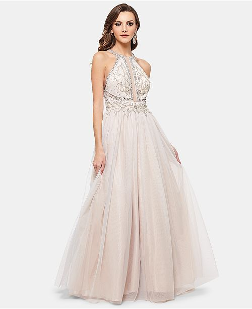 71be82dddfb Betsy   Adam Embellished Halter Glitz Ballgown   Reviews - Dresses ...