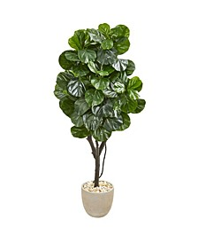 """67"""" Fiddle Leaf Fig Artificial Tree in Sand Stone Planter"""