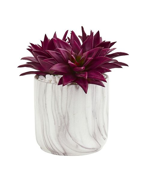 Nearly Natural Agave Succulent Artificial Plant in Marble Finished Vase