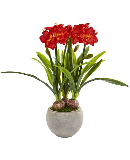 Nearly Natural Amaryllis Artificial Plant in Sandstone Bowl