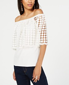 Thalia Sodi Off-The-Shoulder Flounce Top, Created for Macy's