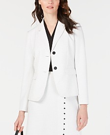 Nine West Windowpane Plaid Two-Button Jacket
