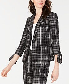 Nine West Plaid Tie-Sleeve Jacket