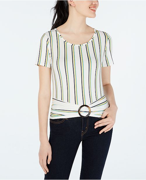 BCX Juniors' Striped Ruched O-Ring Blouse