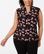 477bfcfd9ae Nine West Plus Size V-Neck Printed Top