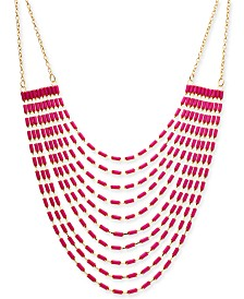"Thalia Sodi Gold-Tone Stone Multi-Row Statement Necklace, 18"" + 3"" extender, Created for Macy's"