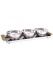 """3 Bowl Relish Dishes with 12"""" Rectangular Tray and Mosaic Handles"""