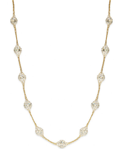 14k Gold Necklace, Metallic Thread Crystal Station Necklace