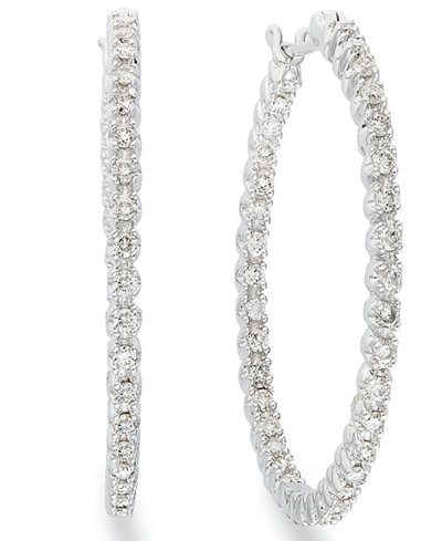 Diamond In-and-Out Hoop Earrings in 14k White Gold (1 ct. t.w.)