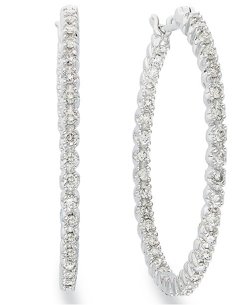 Macy's Diamond In-and-Out Hoop Earrings in 14k White Gold (1 ct. t.w.)