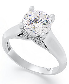 X3 Diamond Solitaire Engagement Ring in 18k White Gold (2 ct. t.w.), Created for Macy's