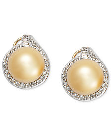 Pearl Earrings, 14k Gold Golden South Sea Pearl (11mm) and Diamond (3/4 ct. t.w.) Stud Earrings