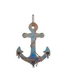 Danya B. Decorative Wooden Wall Anchor with Rope and Hanging Hooks