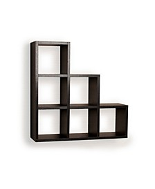 Stepped Six Cubby Decorative Wall Shelf