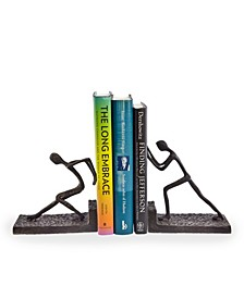 Men Pushing Metal Bookend Set