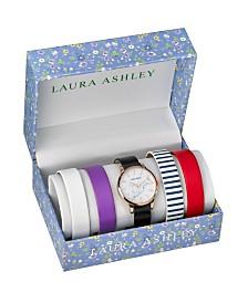 Laura Ashley Rose Gold Slidethrough Interchangeable Marble Dial Set Watch