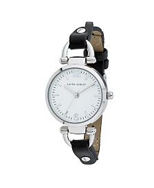 Laura Ashley Ladies' Logoed White Dial With Analog Display Twisted Black Band Round Watch