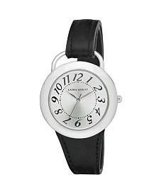 Laura Ashley Ladies' Black Band Sunray Dial Sterrup Case Push Pin Closure Watch