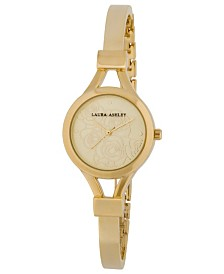 Laura Ashley Ladies' Gold Thin Bangle With Floral Dial Watch