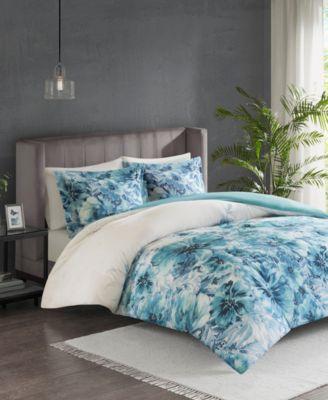 Grey Full//Queen Size Madison Park Lillian 3 Piece 100/% Cotton Duvet Cover Bedding Set