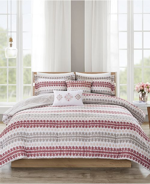 JLA Home 510 Design Neda Full/Queen 5 Piece Reversible Print Comforter Set