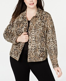 I.N.C. Plus Size Leopard-Print Denim Jacket, Created for Macy's
