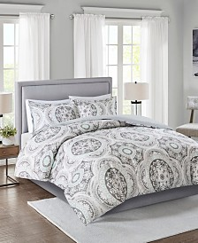 Madison Park June Full/Queen 3 Piece Cotton Medallion Print Duvet Cover Set