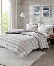 Urban Habitat Cole King/California King Stripe Print Ultra Soft Cotton Blend Jersey Knit 3 Piece Duvet Cover Set