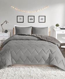 Intelligent Design Kai Twin/Twin XL Solid Chevron Quilted Reversible Microfiber to Cozy Plush 2 Piece Comforter Mini Set