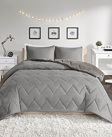 Kai Full/Queen Solid Chevron Quilted Reversible Microfiber to Cozy Plush 3 Piece Comforter Mini Set