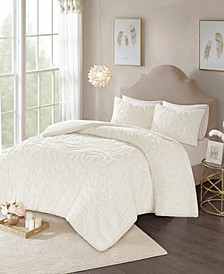 Laetitia Full/Queen 3 Piece Cotton Chenille Medallion Duvet Cover Set