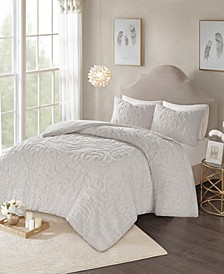 Laetitia King/California King 3 Piece Cotton Chenille Medallion Duvet Cover Set