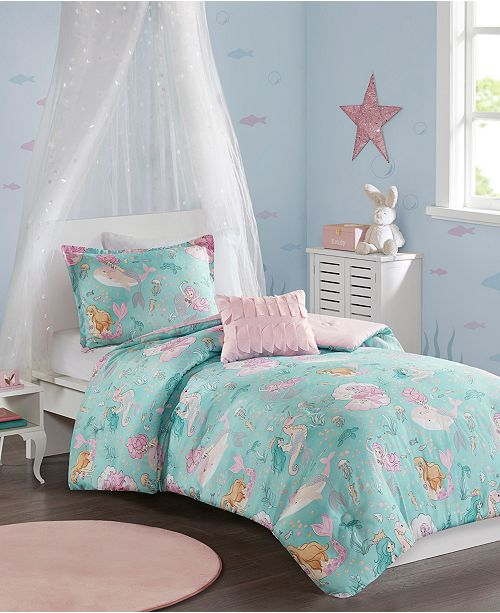 JLA Home Darya Twin 3 Piece Printed Mermaid Comforter Set