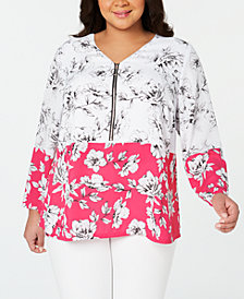 Alfani Plus Size Printed V-Neck Zip-Front Blouse, Created for Macy's