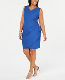 Alex Evenings Plus Size Side-Ruched Surplice Sheath Dress