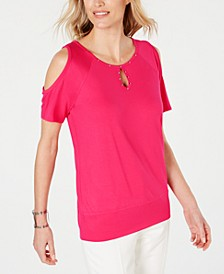 Studded Cold-Shoulder Top, Created for Macy's