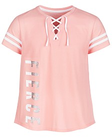 Ideology Big Girls Lace-Up Graphic-Print T-Shirt, Created for Macy's
