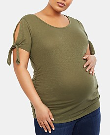Motherhood Maternity Plus Size Cold-Shoulder T-Shirt