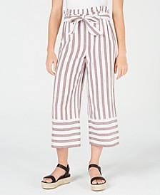 Juniors' Cotton Paperbag Gaucho Pants