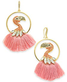 I.N.C. Gold-Tone Crystal & Tassel Flamingo Drop Earrings, Created for Macy's