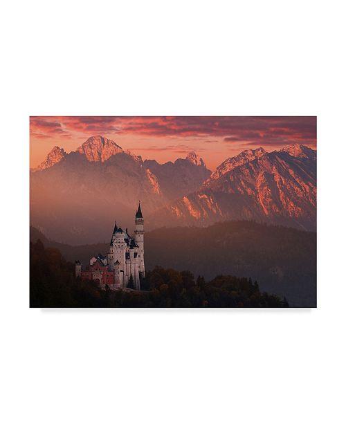 "Trademark Global Daniel Rericha 'Red Morning Above The Castle' Canvas Art - 19"" x 12"" x 2"""