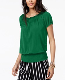 I.N.C. Smocked Short-Sleeve Peasant Top, Created for Macy's