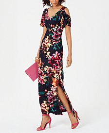 Connected Cold-Shoulder Floral Jersey Maxi Dress