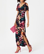 e5f91e6497 Connected Cold-Shoulder Floral Jersey Maxi Dress