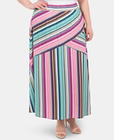 NY Collection Plus Size Pull-On Striped Skirt